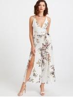 Plunging Self Tie M-slit Strappy Back Florals Jumpsuit
