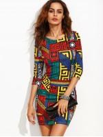 Greek Key Print Slim Fit Dress
