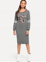 Graphic & Varsity Striped Print Zipper Back Sweatshirt Dress