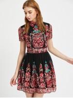 Embroidered Mesh Overlay Skater Dress