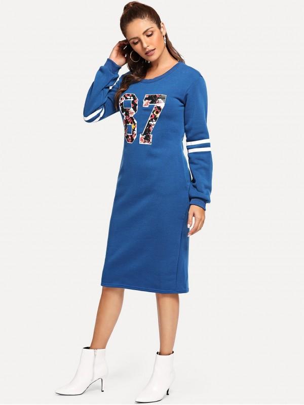 Varsity Print Slit Back Zipper Sweatshirt Dress
