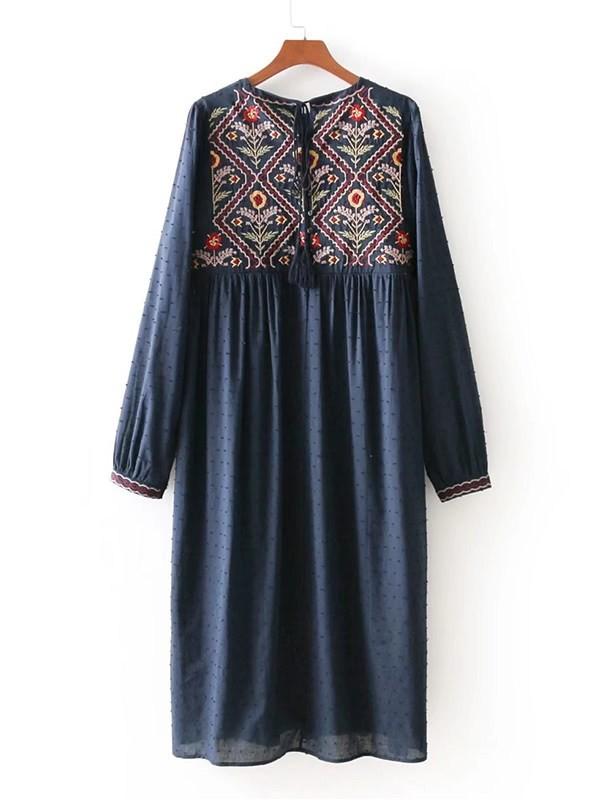 Embroidery Spot Jacquard Dress