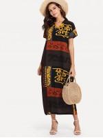 Hieroglyphic Print Longline Dress