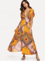 Patchwork Print Wide Waistband Button Up Dress