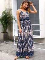 Geo Print Drawstring Waist Dress