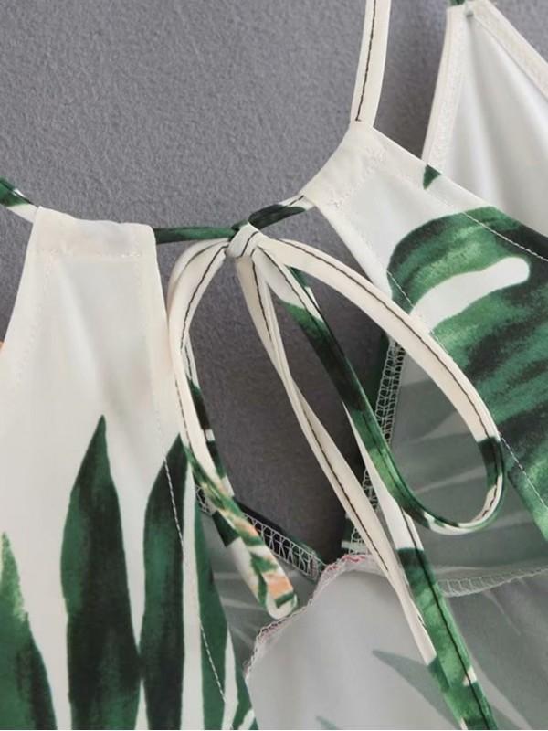 Botanical Print Open Back Cami Dress