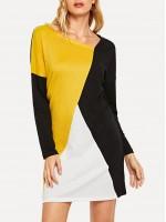 Colorblock Asymmetrical Neck Dress