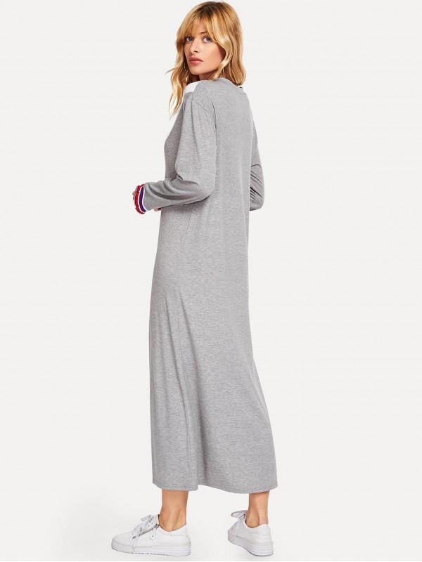 Chevron Colorblock Striped Sleeve Dress