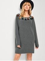 Pearl Beaded Tassel Detail Sweater Dress