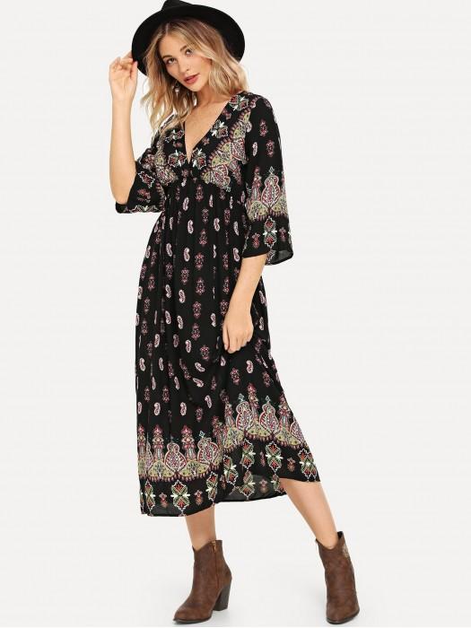 Plunge Neck Paisley Print Dress