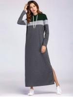 Slit Side Maxi Sweatshirt Dress