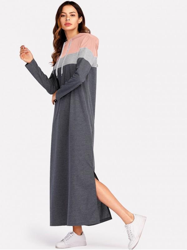 Color-Block Split Side Dress