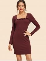 Ruffle Trim Square Neck Bodycon Dress