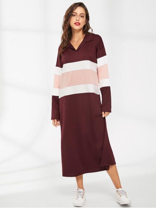 Colorblock Drop Shoulder Dress