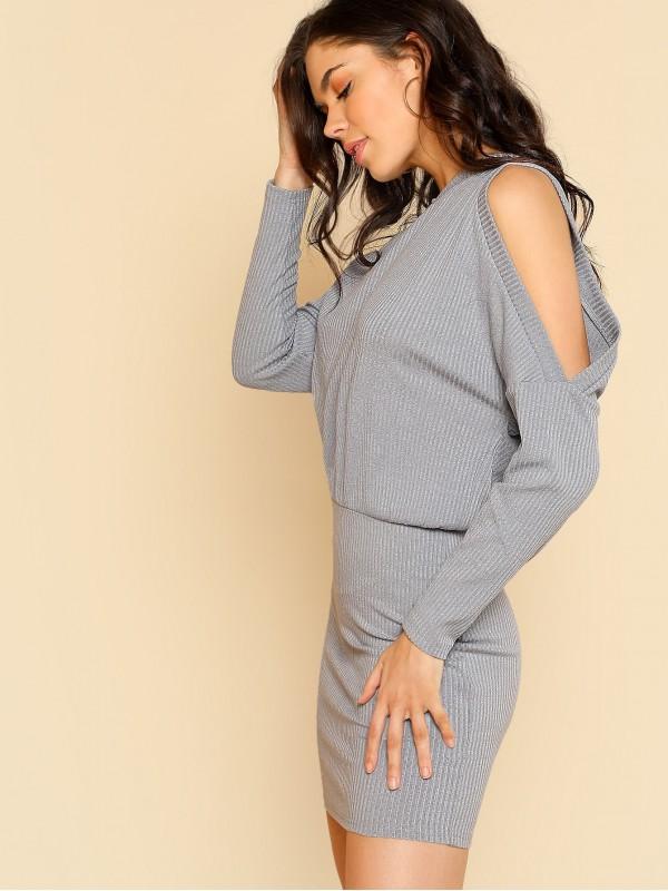 Asymmetric Cold Shoulder Rib Knit Blouson Dress