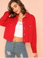 Pocket Front Raw Hem Button Up Jacket