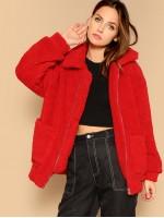 Drop Shoulder Oversized Fleece Teddy Jacket