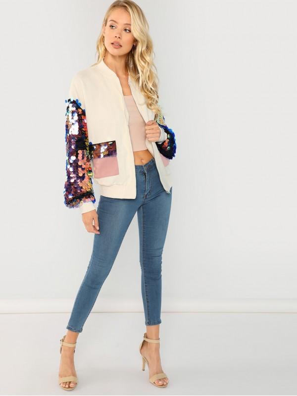 Contrast Sequin Sleeve Pocket Front Jacket