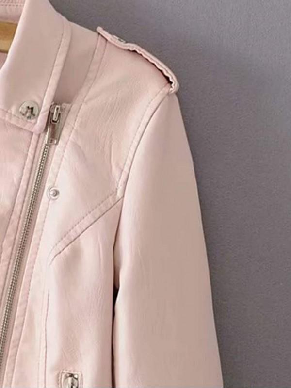 Lace-Up Detail PU Biker Jacket
