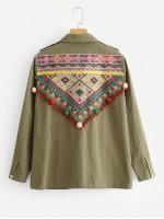 Geo Embroidered Pom Pom Detail Jacket