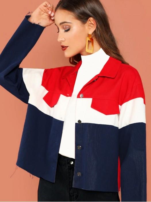Color Block Raw Hem Jacket