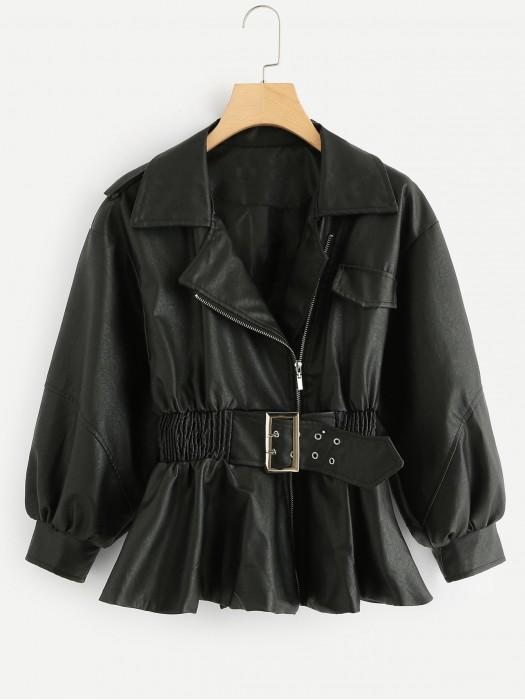 Belted Solid Bishop Sleeve Jacket