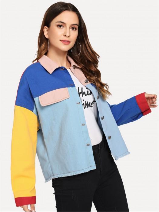 Button & Pocket Front Color Block Jacket