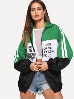 Zip Up Color Block Letter Print Jacket
