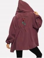 Letter Print Raglan Sleeve Jacket
