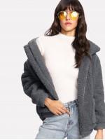 Zip Up Solid Teddy Jacket