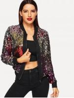 Zip-Up Sequin Jacket