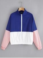 Elastic Hem Color-block Windbreaker Jacket