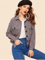 Button Up Flap Pocket Houndstooth Jacket
