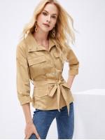 Button Up Flap Pocket Belted Utility Jacket