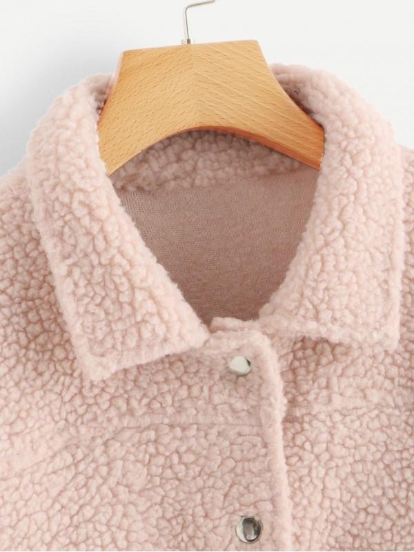 Flap Pocket Detail Teddy Jacket