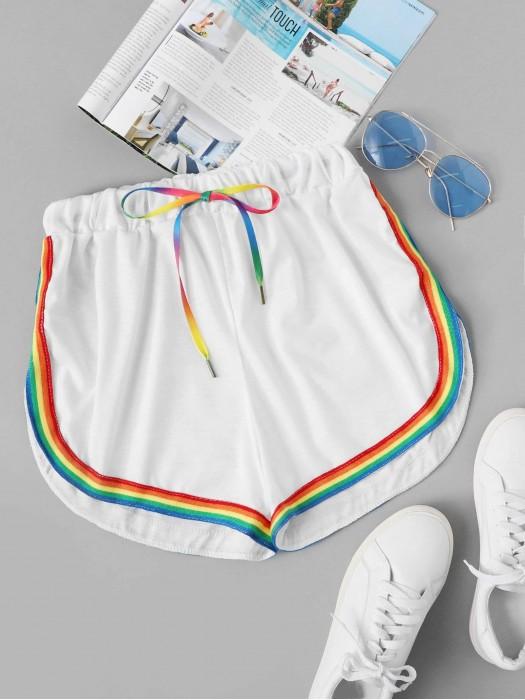 Contrast Rainbow Stripe Trim Shorts