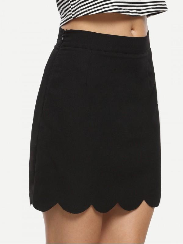 Scalloped Hem A-line Skirt