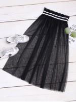 Contrast Tape Frill Waist Mesh Skirt