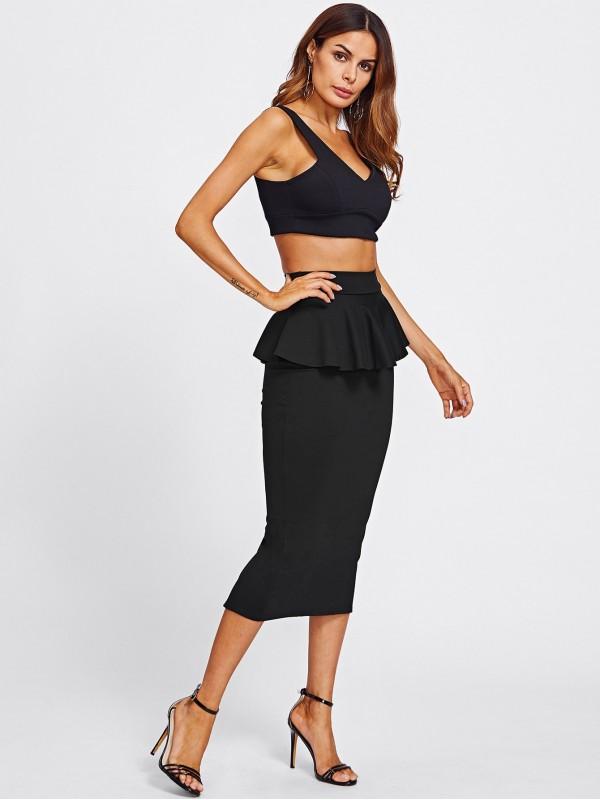 Slit Back Peplum Skirt