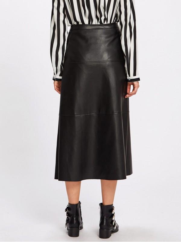 Button Up PU Midi Skirt