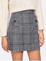 Zip Back Wales Check Skirt