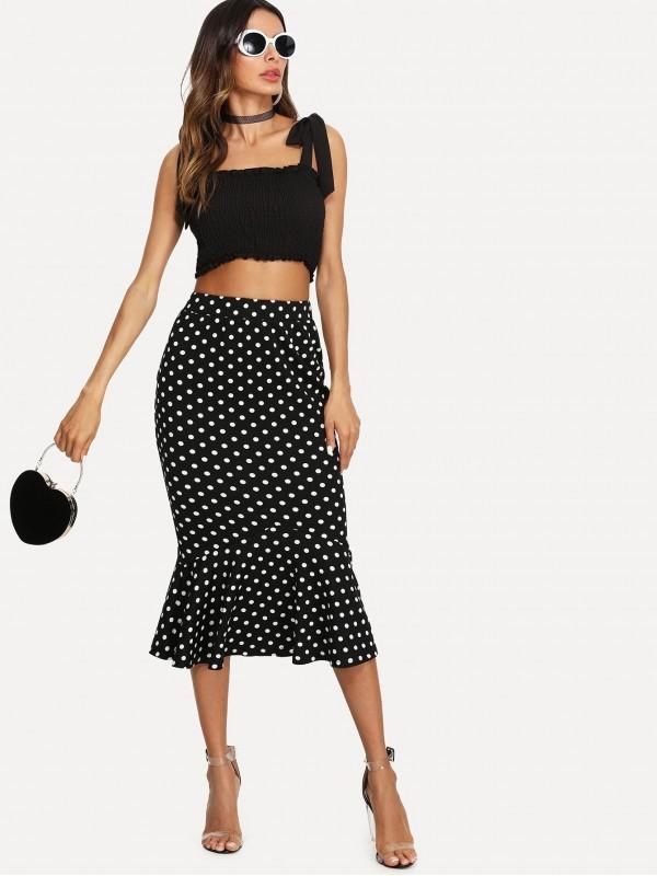Ruffle Hem Fishtail Skirt