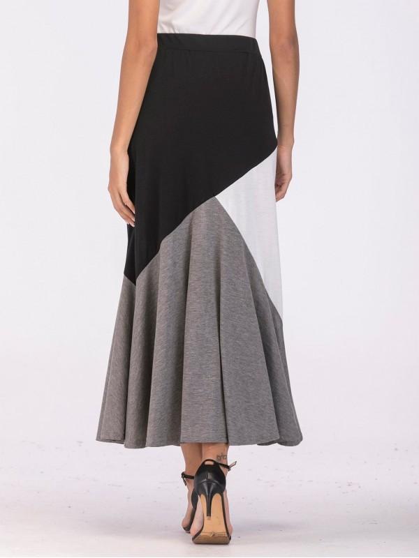 Color Block Ruffle Skirt