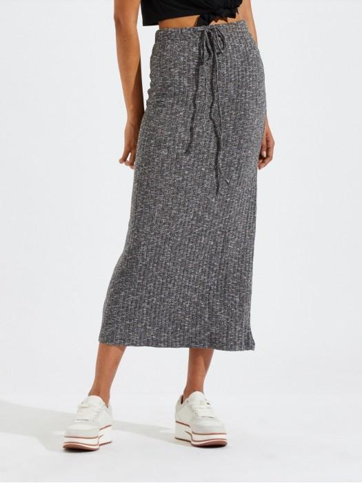 Drawstring Waist Marled Pencil Skirt