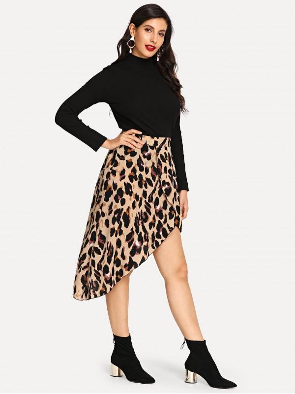 Asymmetric Leopard Wrap Skirt