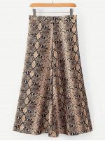 Snake Skin Print Zipper Detail Skirt