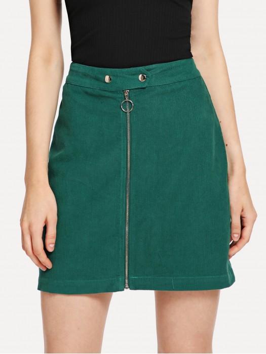 Exposed Zip Front Corduroy Skirt