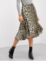 Leopard Print Ruffle Trim Skirt