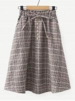 Knot & Button Detail Plaid Skirt