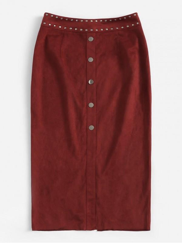 Zip Back Slit Hem Buttoned Skirt